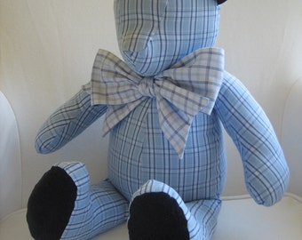 William, Blue Nautica Plaid Fabric Teddy Bear with Corduroy Feet and Ears // Nautica's William Bedding Collection