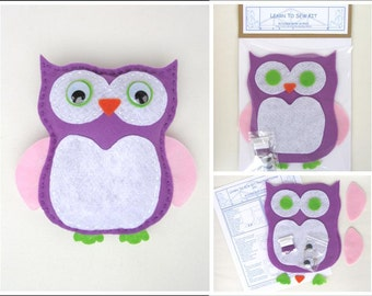 Learn to Sew Kit for Kids - Purple, Pink and Green Owl