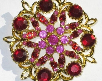 RHINESTONE Antique Style Brooch MeTaL FLOWER Red PINK