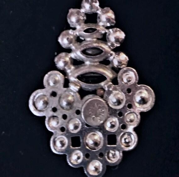 Vintage American Sterling  & Crystals Pin / Penda… - image 2