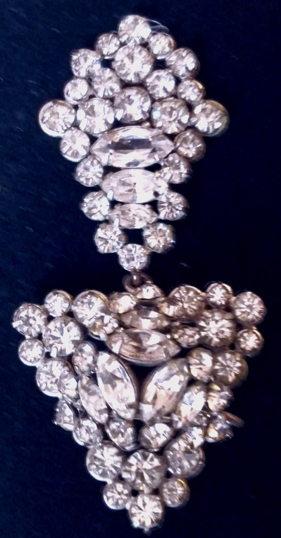 Vintage American Sterling  & Crystals Pin / Penda… - image 1