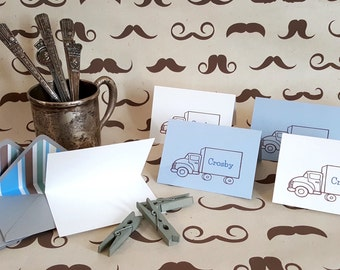 Mini Blue & Brown Personalized Gift Cards with Lined Envelopes - Truck Gift Cards - Custom Gift Card Set - Mini Cards - 10 pc. set