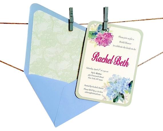 hydrangea invitation floral bridal shower invitation etsy