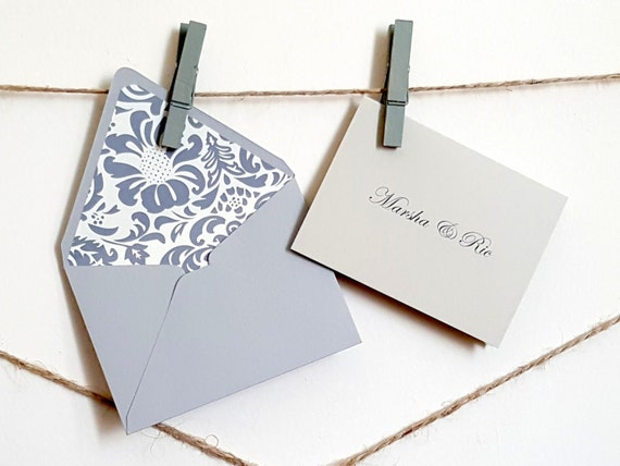 Mini Personalized Gift Cards With Lined Envelopes Grey Damsk Etsy