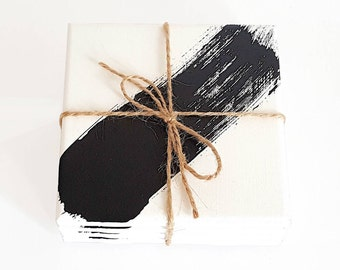 Painted Coasters - Black & White Ceramic Coasters - Paint Stroke Coasters - Hostess Gift - Valentine's Day Gift - Teacher Gift - Set of 4