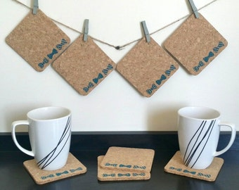Cork Coasters - Bow Tie Coasters - Gift for Him - Gift for Her - Father's Day Gift - Valentine's Day Gift - Gift for Dad - Sets of 4 or 8
