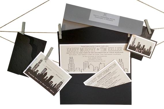 Chicago Skyline Custom Invitations City Skyline Custom Etsy
