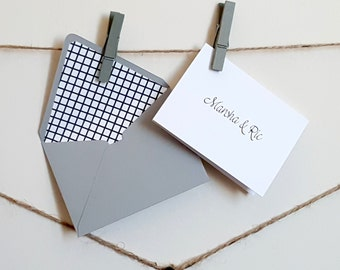 Mini Gift Cards - Mini Black, White & Grey Personalized Cards with Lined Envelopes - Crosshatch Gift Cards - Custom Gift Cards - 10 pc. set