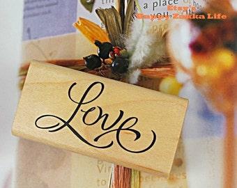 "Wooden Rubber Stamp - Love - 6cm x 3cm (2.4"" x 1.2"")"