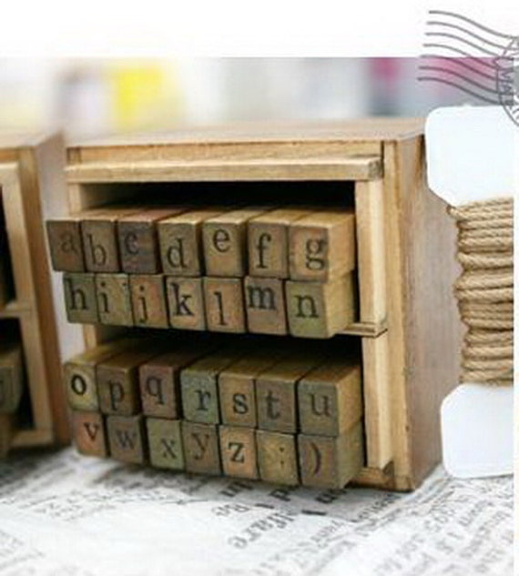 Wooden Rubber Stamp Box Alphabet Stamps Print Style Etsy