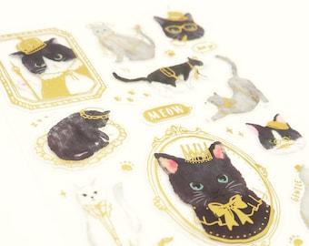 Cat Portrait - Translucent Paper Die Cut Deco Sticker - 1 Sheet