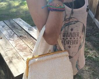 Vintage beaded bag white eggshell purse