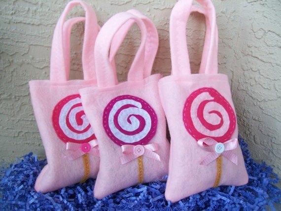 LOLLIPOPS PARTY Felt party favor sweet and yummy Party bags Set of 6party supplies