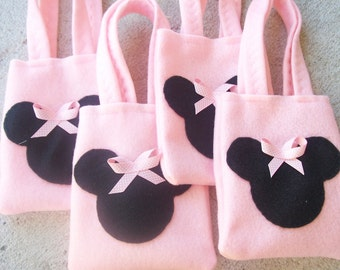 MINNIE MOUSE PARTY/felt party bags favor/all in pink/girls/set of 4 bags