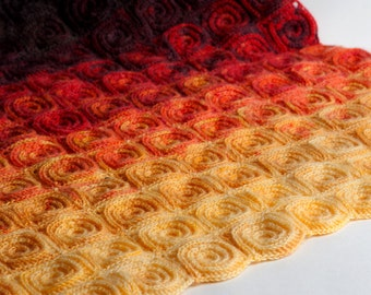 Fire Blanket crochet pattern. Digital file PDF