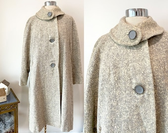 Banff Wool Jacket Cardigan Sweater Vintage 1950s Double Breasted Pony Hail Taupe Brown Italian Italy