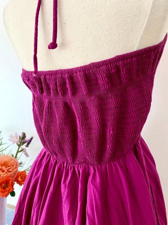 1970's Studio 54 Purple Halter Dress / Rouched Vi… - image 3