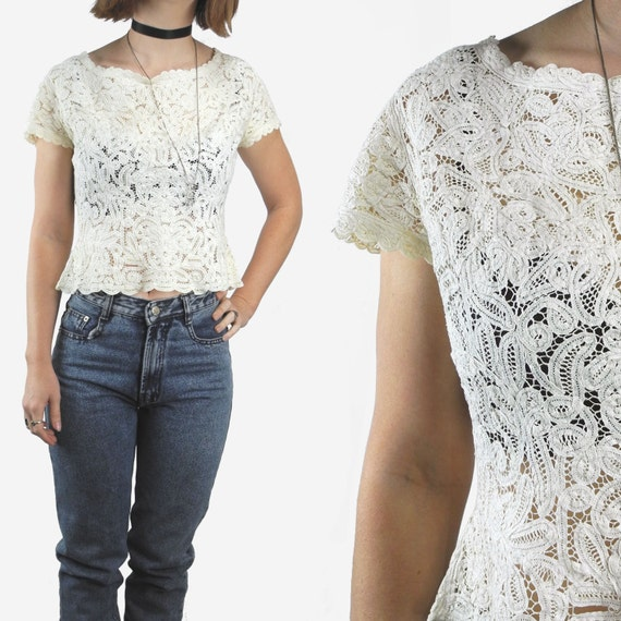 1940s lace top / vintage lace shirt / 40s lace cro