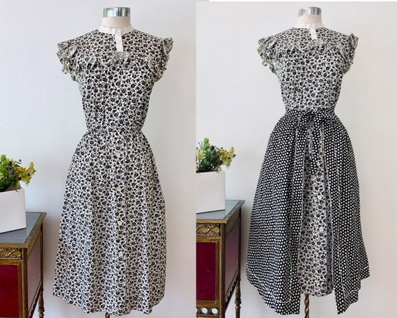 1970s Black & White Floral Dress w Shamrock Apron