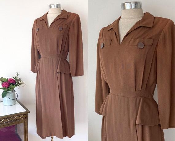 1940s Anna Miller Vintage Brown Rayon Peplum Dress