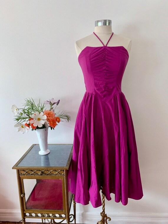 1970's Studio 54 Purple Halter Dress / Rouched Vi… - image 6