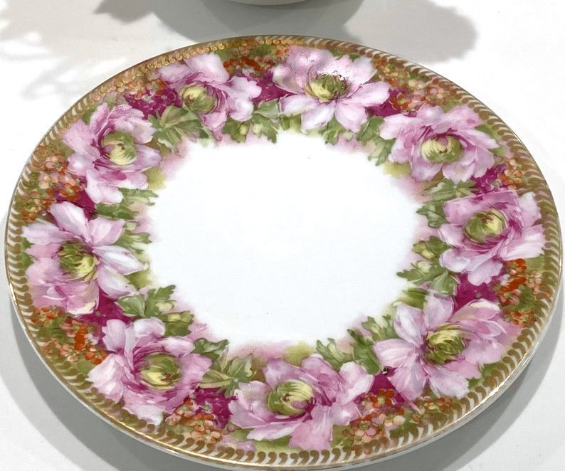 Antique Hand Painted Hohenzollern Wittelsbach Germany Bone Pink and Green China Plate