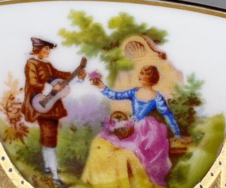 JKW Decor Carlsbad Germany Antique Bone China Love Story Courtship Portrait Plate