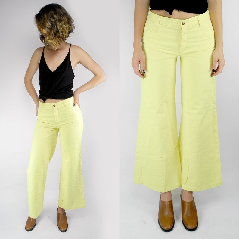detailed pictures discount up to 60% amazon HOLIDAY SALE Sears Jr Bazaar 1970's bell bottom jeans / vintage light  yellow flare pants / mid-rise pale yellow wide leg pants / size 4
