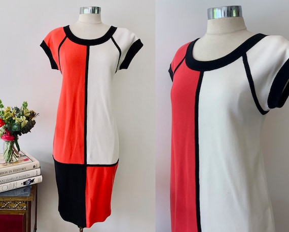 Bill Blass Vintage Color Block Mondrian Dress / Sh
