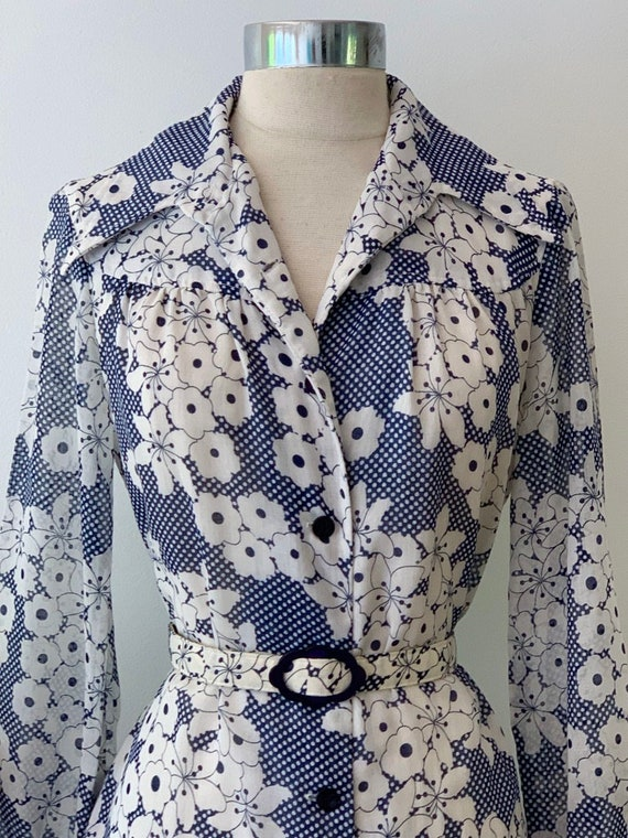 Vintage Blue and White Cotton Voile Vintage Shirt… - image 3