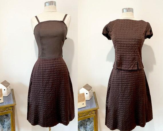 1960s 2 Piece Brown Textured Satin Dress / Vintage