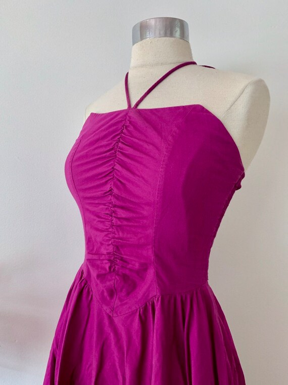 1970's Studio 54 Purple Halter Dress / Rouched Vi… - image 7