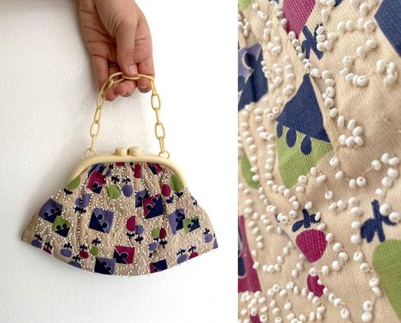 Art Deco Beaded Print Handbag / 1930s Vintage Bag