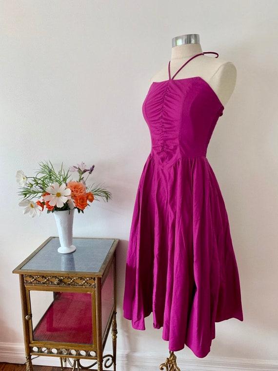 1970's Studio 54 Purple Halter Dress / Rouched Vi… - image 8