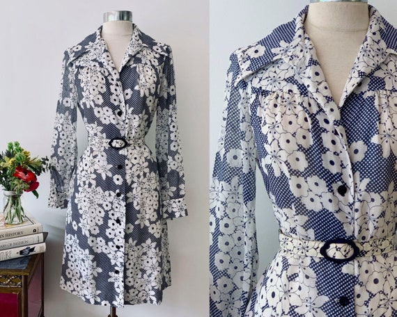Vintage Blue and White Cotton Voile Vintage Shirt… - image 1