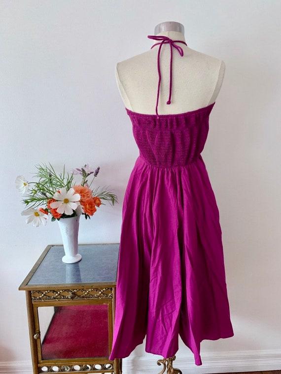 1970's Studio 54 Purple Halter Dress / Rouched Vi… - image 4