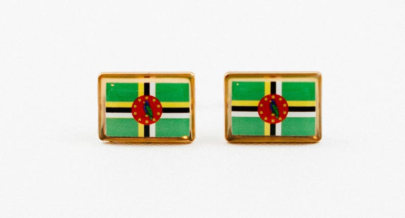 Dominica Flag Cufflinks