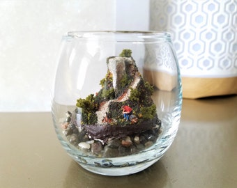 "Diorama ""The Last Man on Earth"" -- Tabletop or Desktop Jar Display of Man Sitting Alone on a Mountain Log"