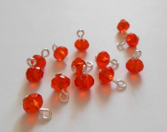 Tangerine/Orange Faceted Rondelle Glass Dangle Beads