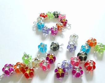 Colorful Transparent Plastic Flower/Rhinestone Dangle Beads