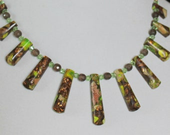 Copper Green Fan Collar with Smokey Quartz and Peridot Green Crystals