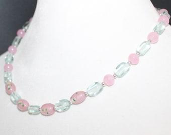 Rose Quartz Sea Glass Vintage Rose Beaded Necklace