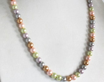 Glass Pearl Rainbow Long Necklace