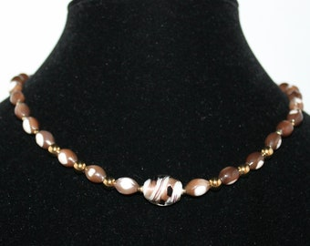 Polished Shell and Art Glass Beaded Necklace