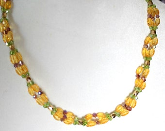 Citrine Gemstone Triple Strand Necklace with Purple and Green Crystals