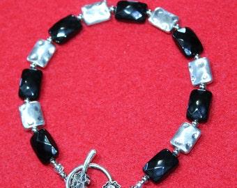 Black and Silver Square Executive Bracelet