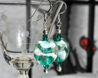 Green and White Puffy Round Art Glass Earrings
