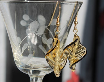 Yellow and Black Twisted Art Glass Earrings