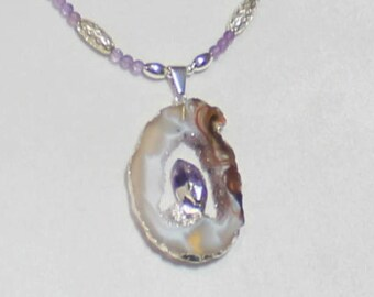 Tiger Druzy Purple Amethyst Pendant Necklace with Silver, Amethyst, and Moonstone Crystal Beads