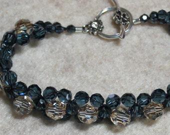 Swarovski Crystal Montana Blue and Golden Shadow Flowers Bracelet